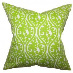 "Reinvent your home like a pro by tossing this exquisite accent piece. This throw pillow features a unique geometric pattern in a bright chartreuse green and white color combination. The decor pillow is scene-stealing and will totally make your sofa, bed or couch more inviting. Constructed in the USA, this 18"" pillow is 100% cotton-made. $55.00 #pillows #homedecor #tosspillow #graphic #interiorstyling #green"