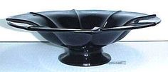 Fenton Black Amethyst Glass Flared Ribbed Console Bowl