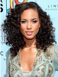 エレガントアフリカとアメリカヘアスタイルミディアムカーリーブラックフルレースアバウト16インチ100%人毛ウィッグ