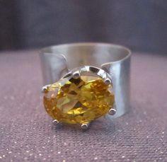 gemstone ring citrine ring sterling silver by FirednWiredJewelry