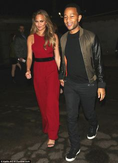 Red hot couple: Chrissy Teigen and John Legend were seen partying at ESPN's Superbowl pre-...