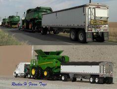 Farm Trucks, Big Rig Trucks, Toy Trucks, Old Tractors, John Deere Tractors, John Deere Combine, John Deere Equipment, Custom Hot Wheels, Farm Toys