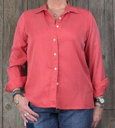 LL Bean M size Blouse Pink Orange Tencel Womens Top Career Casual L Sleeve Shirt