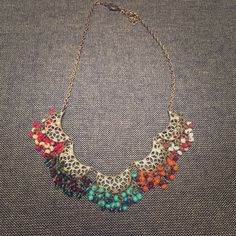 Colorful Beaded Necklace Brassy gold chain, structured Francesca's Collections Jewelry Necklaces