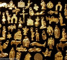 50 Gold Import Mexican Milagros Shiny Good Luck EX Votos Dijes Miracle Charms   eBay