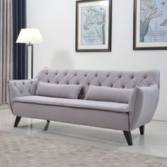 Mid Century Modern Tufted Linen Fabric Sofa Living Room Furniture | Overstock.com Shopping - The Best Deals on Sofas & Loveseats