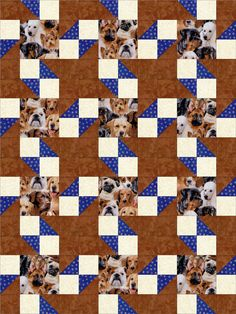 Who wouldn't love to have a quilt made from this easy to sew quilt kit of different types of loveable dogs. Like Beagles, Bull Dogs, Labradors, German Shepherds, Golden Retrievers, Poodles, Pugs, Rott