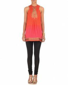 JJ VALAYA Flame Orange & Fuchsia Tunic $158
