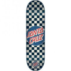 The 7.9 inch wide Check Dot Blue by Santa Cruz Skateboards.. Medium concave. 100% North American Maple. - Noselength: 6.822 in - Size: 7.9 in x 31.7 in - Taillength: 6.511 in - Wheelbase: 14.23 in