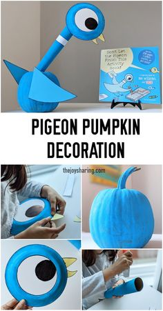 Looking for fun and easy no-carve pumpkin decorating ideas for the fall? Turn the pumpkin into your kid's favorite book charater. #mowillems #pumpkindecoration #falldecoration #mowillemspigeon #pumpkindecorating via @thejoysharing Creative Arts And Crafts, Crafts For Kids To Make, Creative Kids, Kids Crafts, Easy Art Projects, Arts And Crafts Projects, Book Crafts, Projects For Kids, Toddler Learning Activities