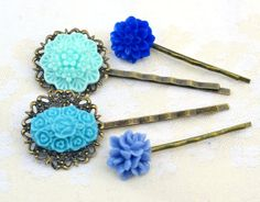 Items similar to Mother's day sale,Turquoise and blue,resin flower bobby pin,shabby style head Woman accessories hair rose mum bridesmaids vintage filigree on Etsy Flower Hair, Flowers In Hair, Blue Flowers, Hair Pins, Bobby Pins, Your Hair, Art Pieces, Hair Accessories, Hair Styles