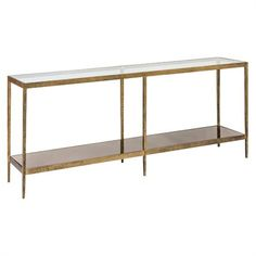 Le Forge Console   Brushed Gold Finish.  Clear Glass Top & Smoked Bronze Mirrored Glass Shelf  Discover more at www.boydblue.com