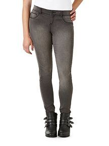 Gray Faux Front Pocket Stretchy Skinny Jeans
