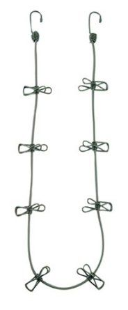 bungee cord clothesline; great for in tent hanging