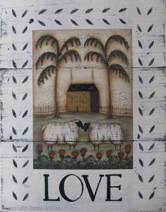 LOVE - a signed folk art sheep print by Donna Atkins. $12.00, via Etsy.