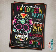 Spooky Halloween Party Invitation or Colorful Skull Day of the Dead Invite. by KelliNichollsDesigns