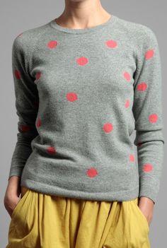 polka dot sweater - love the colors. cute!