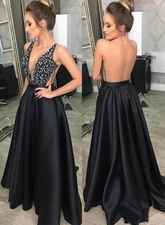long prom dresses - Black v neck satin long prom dress, black evening dress Prom Dresses With Pockets, Open Back Prom Dresses, V Neck Prom Dresses, Black Evening Dresses, Black Prom Dresses, Grad Dresses, Sexy Dresses, Beautiful Dresses, Formal Dresses