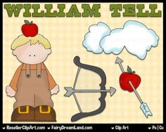 William Tell Digital Clip Art  Commercial Use by ResellerClipArt, $1.50