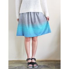 SEMIS PARIS - WOOL FLARE SKIRT (GREY & BLUE)