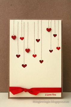 handcrafted Valentine card from little things: Heart, Heart … simple and elegant … machine stitched lines end in little valentines … some negative die cut cuts … some stamped … some popped … lots of dimension … knotted ribbon low on the front … Tarjetas Diy, Diy Valentines Cards, Homemade Valentine Cards, Karten Diy, Cards For Boyfriend, Boyfriend Ideas, Gift Boyfriend, Handmade Birthday Cards, Homemade Cards