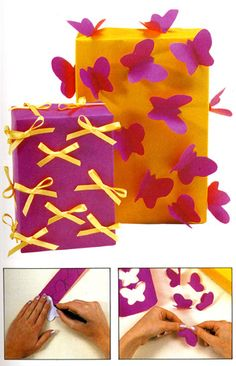 Get crafty! Take two bright colors- one for your wrap, one for the accent. Take bows or cut-out paper butterflies and glue them all over to bright colored gift wrap paper. Voila.