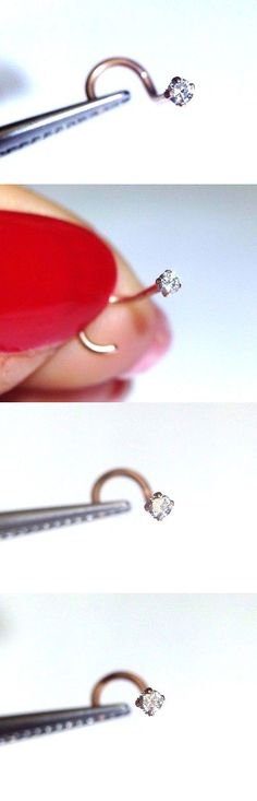 Body Piercing Jewelry 32050: New .02Ct 1.5Mm E Vs Diamond 14K Pink Rose Gold Nose Stud Screw Ring -> BUY IT NOW ONLY: $34.99 on eBay!