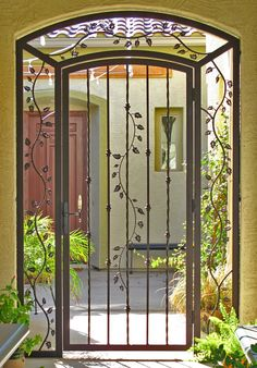 Custom Iron Gate. *Note add in back screw in plexy glass(colored on side panels?) & Bio-lock for entrance fortification/package safe spot.