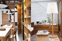 Completa el equipamiento las mesas altas con base de madera y tapa de MDF laqueado (Nidolab) y banquetas con asiento en contraste cromático con la mesa (BLVD Furniture).  /Magalí Saberian