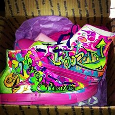 """Above & beyond """"fan mail""""..one of my viewers made these shoes for me!!!  SO BRIGHT & AMAZING! They came with a thank you letter…I had tears..thank YOU, Jessica from New York!     #shoes #neon #color #myFansGetMe #EasyNip"""