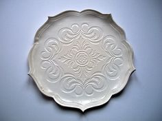 Colonial White Scroll Lotus Plate by CatsPawPottery on Etsy, $19.00