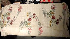 Antiques dealers -  View of one of 3 brocade panels. These are gorgeous lengths of silk that would have been made for the most fashionable of ladies' gowns; about 22 inches wide. All three, a bargain price of $2000.