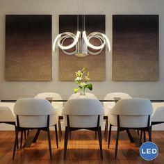 Vonn Lighting Capella 30-inches LED Adjustable Hanging Light Modern Flower-Pedal Chandelier Lighting in Silver