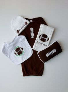 Football Baby Boy Gown Personalized Beanie Hat Burp Cloth Bib and Wipes Case Gift set on Etsy, $68.50