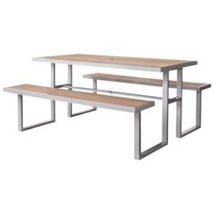 ThresholdTM Bryant Faux Wood Patio Picnic Table - Home Furniture's - Outdoor Furniture - Lawn & Garden Tables - Built on a Steel Frame - Made of Polystyrene That Looks Like Wood - Rust and Weather Resistant - 1 Year Limited Manufacturer Warranty Threshold