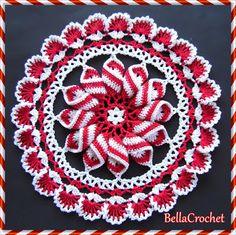 Ravelry: Peppermint Pinwheel Doily FREE crochet pattern by Elizabeth Ann White Free Doily Patterns, Crochet Stitches Patterns, Thread Crochet, Crochet Motif, Irish Crochet, Crochet Designs, Crochet Yarn, Free Crochet, Stitch Patterns