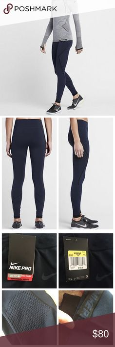 "NWT Nike Pro Hyperwarm Leggings Brand new thick and durable Nike Pro leggings from the Hyperwarm series. Navy with black piping. Size small, fits true. Approx. 25.5"" waist, 27"" inseam. Pintucked detailing at knees. Polyester-nylon-spandex blend, machine washable. Dri-fit, with thermal insulation. Nike Pants"