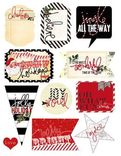 Christmas Freebies in PDF. Just print, cut, and #makeprettystuff