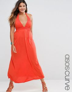 ASOS CURVE  Jersey Ruched Halter Maxi Beach Dress  Great dress and looks fantastic on the model.