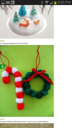 Candy Cane Christmas Crafts For Kids, Christmas Pom Pom Craft Ideas for Kids! Cheap Christmas Crafts, Christmas Decorations For Kids, Kids Christmas Ornaments, Preschool Christmas, Christmas Activities, Christmas Projects, Simple Christmas, Holiday Crafts, Christmas Diy