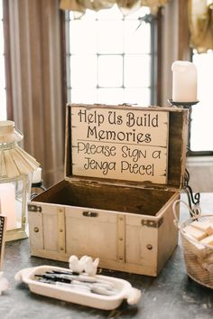 """Help us build memories"" sing, shabby-chic box, ask guests to sign jenga pieces, fun wedding reception ideas // Paul Francis Photography"