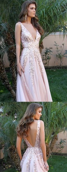 Sparkly Sequins V Neck Pink Chiffon Long Prom Dress #prom #dresses #longpromdress #promdress #eveningdress #promdresses #partydresses #2018promdresses