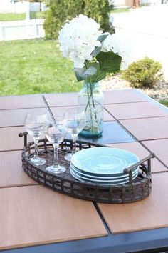 Wood Tile Topped Patio Table