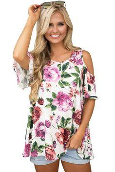 Flourish Print White Background Cold Shoulder Womens Top