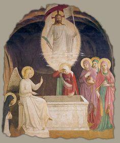 """""""A Ressurreição de Cristo e as mulheres na tumba"""" - Fra Angelico (Itália, 1395- 1455). Convento de são Marcos, Florença  Lc 24, 1- 10"""