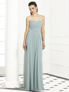 Full length strapless lux chiffon dress w/ sweetheart neckline and pleated waistband at empire waist. Pleated detail at skirt.