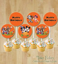 INSTANT DOWNLOAD Mickey Mouse Halloween Happy Birthday Cupcake Toppers - Digital File - Printable - Mickey - Minnie - Halloween BDay Party