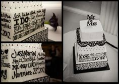 Black and white wedding cake with words all around the cake, damask print, and lace texture