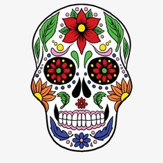 Sugar Skull With Colorful Decoration Mexican Skulls, Mexican Art, Sugar Skull Painting, Sugar Skull Artwork, Skull Model, Day Of The Dead Art, Flower Skull, Counted Cross Stitch Patterns, Red Flowers