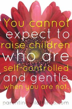 Be a self-controlled and gentle parent to model this behavior to your children. (parentingwildthin...)